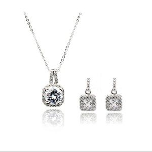 small square silver crystal earrings necklace set